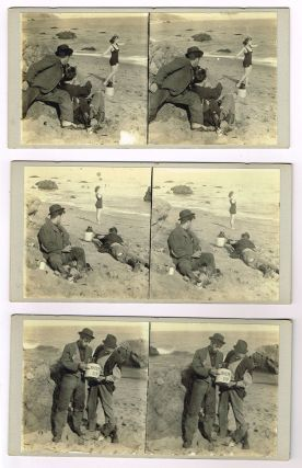 Lot of 15 comedic stereographic cards showing two men spying on a woman at the shore, ca. 1920