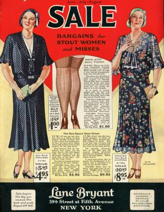 Catalogue for June, July, August 1931 Sale at Lane Bryant Department Stores, Bargains for Stout...