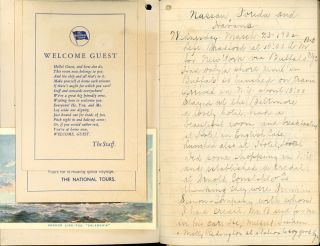 Lot of Souvenirs and other Material from a National Tours Cunard-Anchor Line Cruise Aboard the S.S. Caledonia to Florida, Nassau, and Havana, Including a Cruise Journal, Passenger List, Menus, and other Items