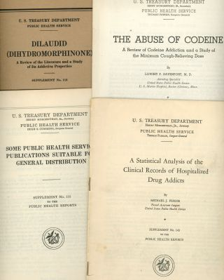Group of Twelve Government Reports on Drugs and Addiction Issued by the Public Health Service, Including Clinical Studies on Drug Addiction in Four Pamphlets, Proceedings of a Conference with the Surgeon General, A Review of Literature and Addictive Properties of Diaudid (Dihydromorphinone), The Abuse of Codine, Statistical Analysis of Hospitalized Drug Addicts, Public Health Service Publications Suitable for Distribution, Kolb Classification of Drug Addicts, Follow-up Study of Treated Narcotic Drug Addicts, and a Congress Committee Report on Drug Literature.