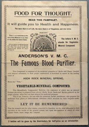 Food for Through, Pamphlet for Anderson's Famous Vegetable Mineral Compound...