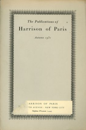 The Publications of Harrison of Paris, Autumn 1931, with Harrison...