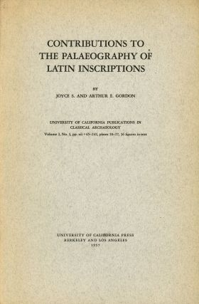 Contributions to the Palaeography of Latin Inscriptions