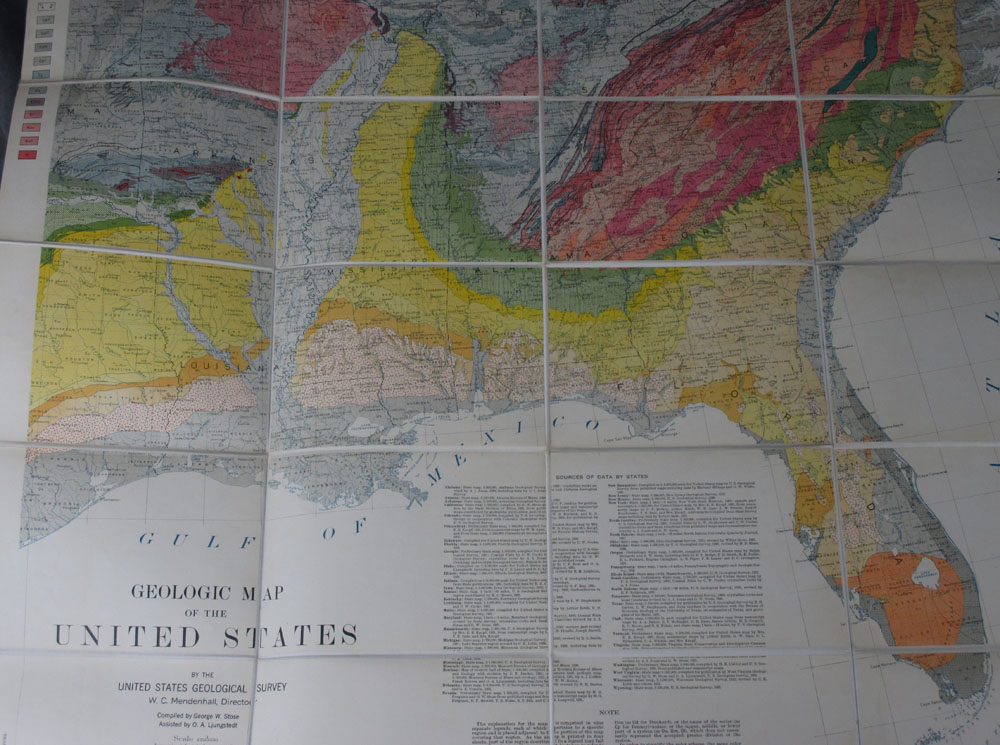 Folding Geological Map of the Southeast United States, Including the ...